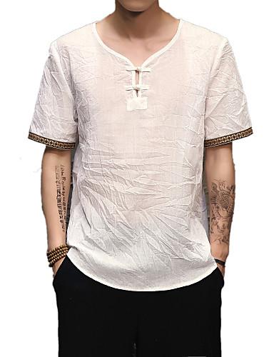 男性用 Tシャツ ベーシック / ストリートファッション / アジアン・エスニック Vネック ソリッド リネン / 半袖 / ロング