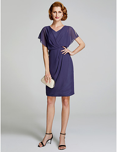 cheap Mother of the Bride Dresses-Sheath / Column V Neck Short / Mini Chiffon Mother of the Bride Dress with Side Draping by LAN TING BRIDE®