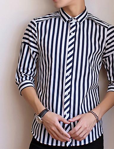 abordables Camisas de Hombre-Hombre Chic de Calle Algodón Camisa Delgado A Rayas Negro XL / Primavera / Verano