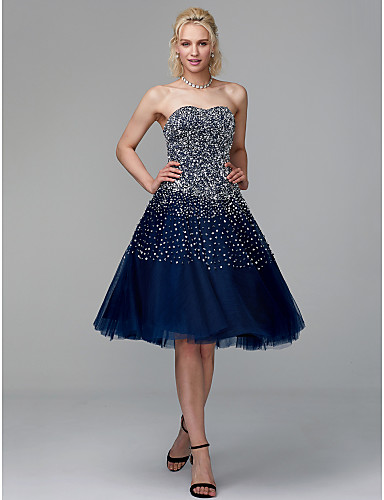 98cf06e06a3a5b play video. cheap Cocktail Dresses-Ball Gown Strapless Knee Length Tulle  Sparkle ...