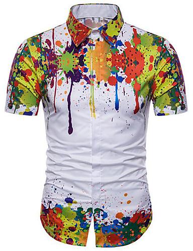 voordelige Herenoverhemden-Heren Standaard Grote maten - Overhemd Katoen, Strand Bloemen Slank Regenboog / Korte mouw / Zomer