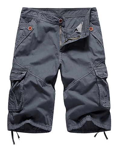 abordables Shorts-Hombre Corte Ancho Ajustado a la Bota / Shorts / Pantalones tipo cargo Pantalones - Un Color Verde Ejército