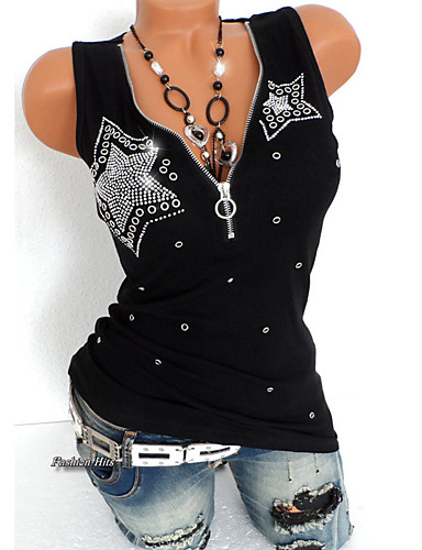 cheap AW 19 Trends-Women's Punk & Gothic Plus Size Slim T-shirt - Solid Colored Sequins Deep V / Summer