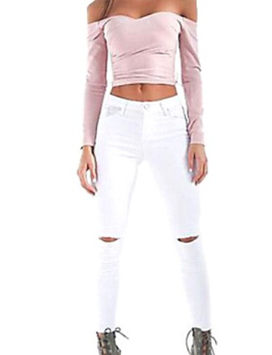 Women's Street chic Skinny Skinny Jeans Pants - Solid Colored Pure Color High Waist