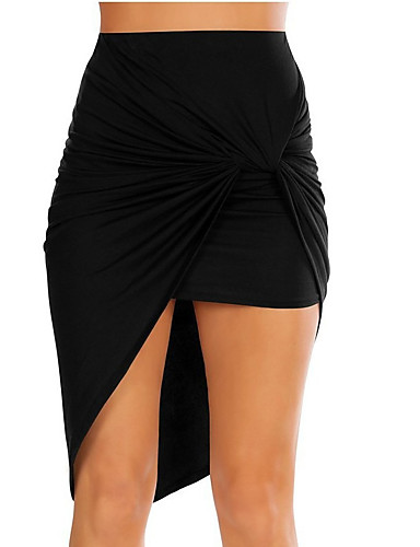 women's going out / beach cotton asymmetrical bodycon skirts - solid colored