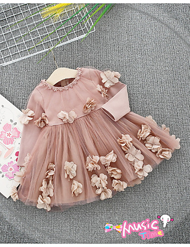 1c85292f55e bebê Para Meninas Activo Geométrica Manga Longa Algodão Vestido Rosa   Bébé