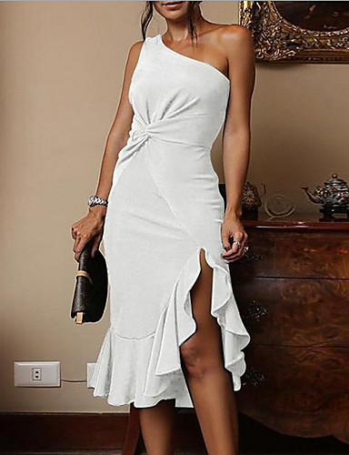 5ad94de9786f Sexy Party Dress Women s Ruffle Party Slim Sheath Dress Solid Colored  White