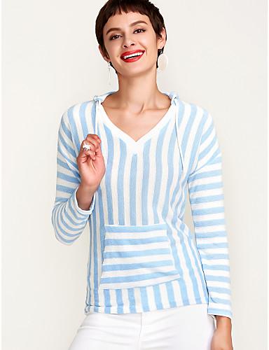 billige Topper til damer-V-hals Polo Dame - Stripet, Grunnleggende Kakifarget / fin Stripe