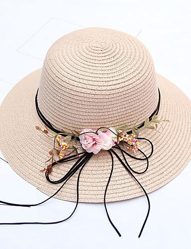 billige Hatter til damer-Dame Aktiv / Ferie Stråhatt Fargeblokk