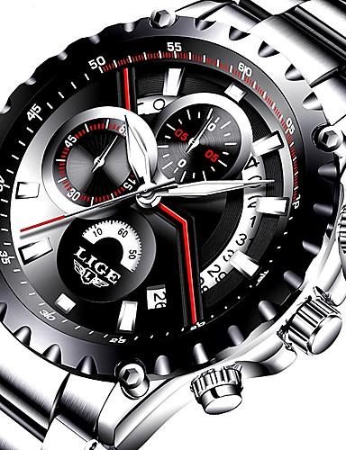 Bărbați Ceas Elegant Japoneză Quartz 30 m Rezistent la Apă Calendar Cronograf Oțel inoxidabil Piele Autentică Bandă Analog Lux Modă Negru / Argint - Argintiu Negru / Alb Negru / Argintiu Doi ani