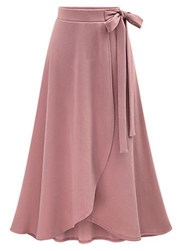 abordables Jupes-Femme Grandes Tailles Quotidien Sortie Coton Asymétrique Balançoire Jupes - Couleur Pleine Noir Rose Claire Vert Véronèse XXXXL XXXXXL XXXXXXL