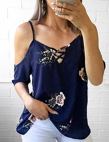 cheap Women's Tops-Women's Daily Vintage Puff Sleeve Cotton Blouse - Solid Colored Black & White, Tassel Blue / Floral