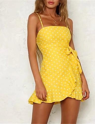 Women's Ruffle Holiday Slim Skater Dress - Polka Dot Ruffle Strap Summer Red Yellow S M L