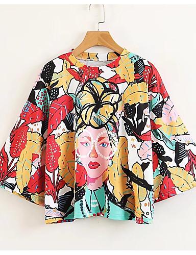 Pentru femei Tricou Floral Imprimeu / Larg