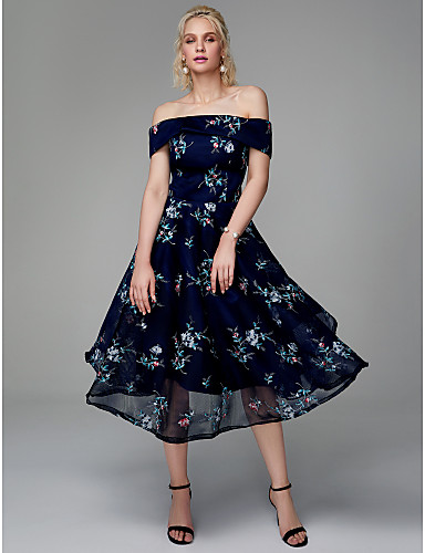A-Line Off Shoulder Tea Length Chiffon / Lace Cocktail Party / Prom Dress with Embroidery by TS Couture®
