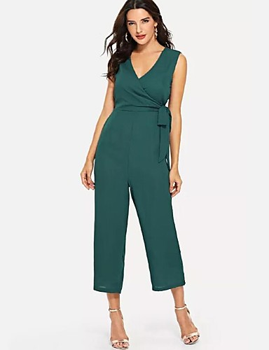 7f29ab02104c Women s Daily   Work Sophisticated V Neck Green Wide Leg Slim Jumpsuit