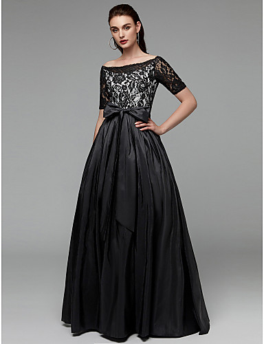 cheap Evening Dresses-A-Line Boat Neck Floor Length Lace / Taffeta See Through Formal Evening Dress with Bow(s) / Sash / Ribbon by TS Couture®