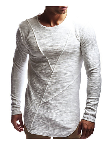 08d3b55caf587 Men s Basic Plus Size Cotton Slim T-shirt - Solid Colored Round Neck   Long  Sleeve   Summer