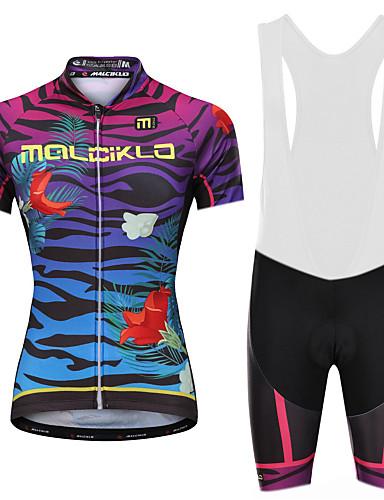 cheap Cycling Clothing-Malciklo Women's Cycling Jersey with Bib Shorts - White / Black Plus Size Bike Bib Shorts Jersey Quick Dry Anatomic Design Reflective Strips Sports Lycra Vertical Strips Mountain Bike MTB Road Bike