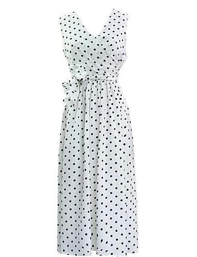 Žene Veći konfekcijski brojevi Vintage Pamuk Puff rukav  Shift Haljina - Rese, Jednobojni Do koljena Crno-crvena