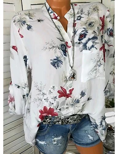 billige Topper til damer-Skjorte Dame - Blomstret Ut på byen Hvit