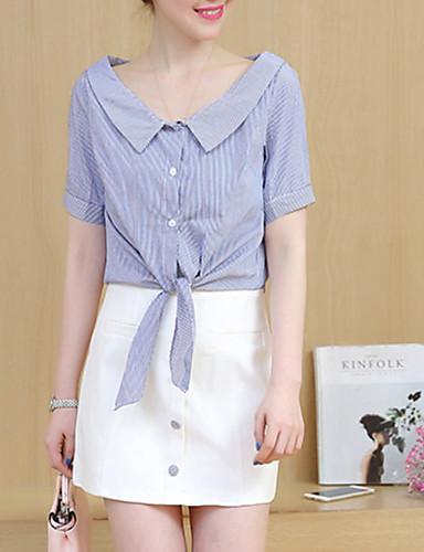 Žene Bluza - Prugasti uzorak Suknja Kragna košulje
