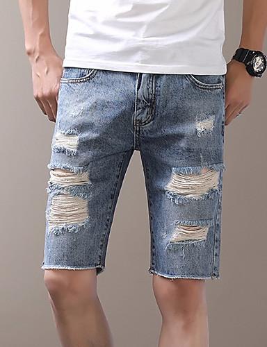 Muškarci Osnovni Pamuk Slim Chinos / Kratke hlače Hlače - Jednobojni Rupica Plava 34 / Ljeto / Plaža / Vikend