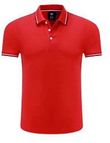 Majica s rukavima Muškarci Dnevno Pamuk Jednobojni / Prugasti uzorak Kragna košulje / Kratkih rukava