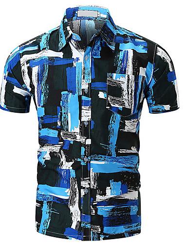 Majica Muškarci - Osnovni Dnevno Geometrijski oblici Kineski ovratnik / Kratkih rukava