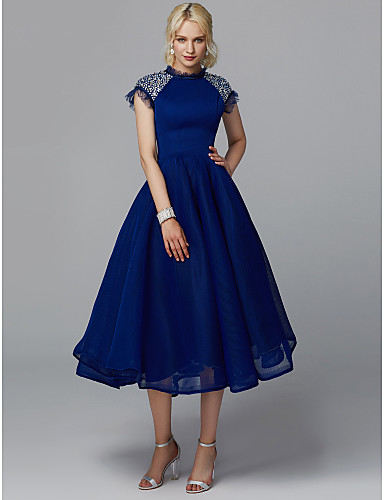 cheap Prom Dresses-Ball Gown High Neck Tea Length Tulle Cocktail Party / Prom Dress with Sequin by TS Couture®