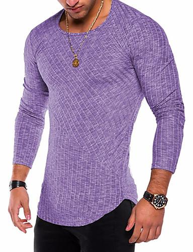 男性用 プラスサイズ Tシャツ ベーシック / 軍隊 ラウンドネック ソリッド コットン パープル XL / 長袖