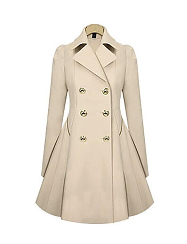 cheap Women's Outerwear-Women's Daily Vintage / Basic Fall & Winter Long Trench Coat, Solid Colored Turndown Long Sleeve Cotton / Polyester Black / Beige / Navy Blue XL / XXL / XXXL