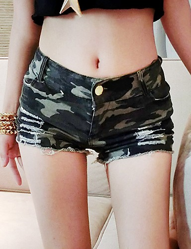 cheap Women's Pants-Women's Active / Military Plus Size Daily Going out Jeans Pants - Camo / Camouflage Patchwork High Waist Army Green S M L / Sexy
