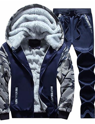 cheap $20-$25-Men's Basic Long Sleeve Hoodie - Camo / Camouflage Hooded Light gray M