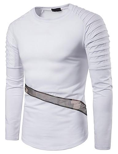 男性用 パッチワーク Tシャツ ベーシック ラウンドネック カモフラージュ ブルー L / 長袖