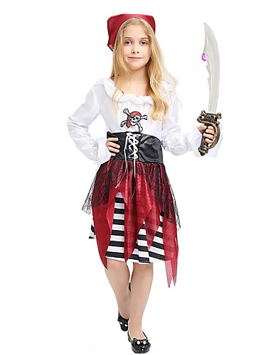 df2e65aa9 Pirate Costume Kids Girls  Halloween Halloween Carnival Children s Day  Festival   Holiday Polyster White Carnival Costumes Solid Colored Striped  Halloween