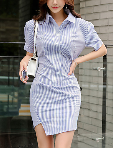 Žene Ulični šik Bodycon Haljina Asimetričan Blue & White