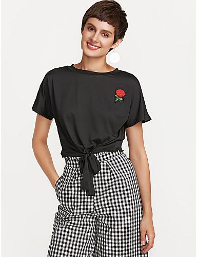 billige Topper til damer-T-skjorte Dame - Ensfarget Ut på byen Rosa M / Snøring / fin Stripe
