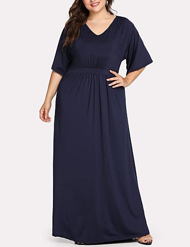 f009cebb350 Women's Plus Size Daily Going out Street chic Elegant Maxi Slim Sheath  Dress - Solid Colored V Neck Summer Cotton Navy Blue XXXXL XXXXXL XXXXXXL