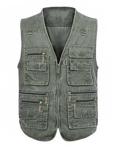 voordelige Herenjacks & jassen-Heren Professioneel Normaal Vest, Modern V-hals Mouwloos Polyester Grijs / Leger Groen / Khaki