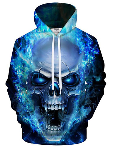 cheap Happy Halloween-Men's Plus Size Active / Exaggerated Long Sleeve Loose Hoodie - 3D / Cartoon Print Hooded Blue 4XL / Fall / Winter