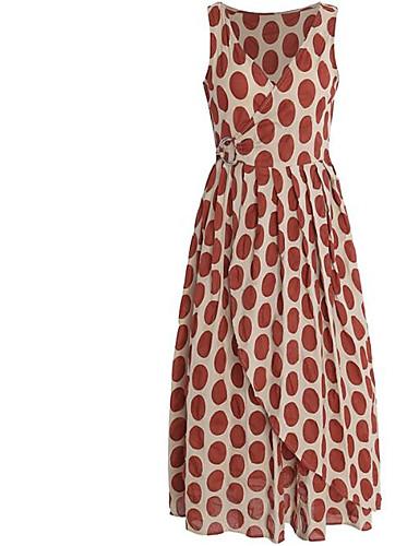 Žene Veći konfekcijski brojevi Vintage Pamuk Puff rukav  Shift Haljina - Rese, Jednobojni Do koljena Crno-bijela