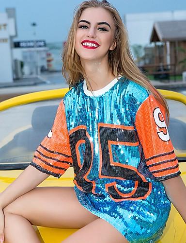 billige Topper til damer-Løstsittende T-skjorte Dame - Bokstaver, Paljetter / Lapper Aktiv / Grunnleggende Klubb / Strand Blå En Størrelse / Sexy