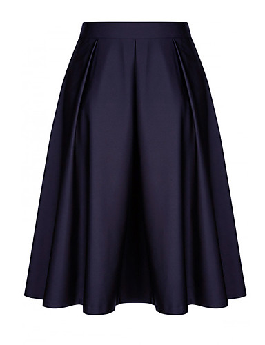 abordables Jupes-Femme Chic & Moderne Coton Lin Balançoire Jupes - Couleur Pleine Plissé Noir Vin Rose Claire S M L