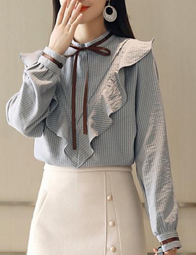 billige Topper til damer-Crew-hals Skjorte Dame - Ensfarget Blå M
