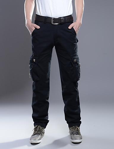 お買い得  メンズパンツ&ショーツ-男性用 ベーシック / 軍隊 コットン チノパン / スウェットパンツ / カーゴパンツ パンツ - ソリッド ブラック