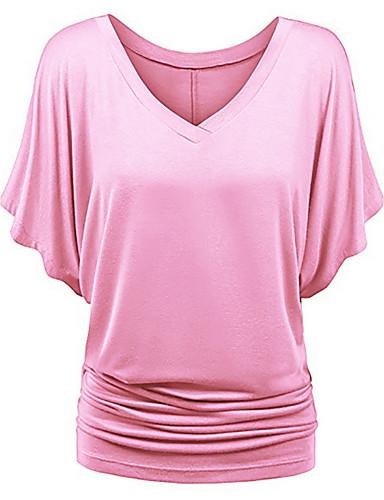 abordables Camisas y Camisetas para Mujer-Mujer Básico Plisado Camisa, Escote en V Profunda Un Color Morado XXXL