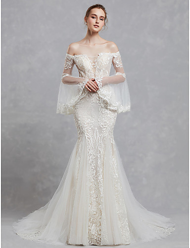 9f36a3e6e1 Mermaid / Trumpet Off Shoulder Court Train Lace / Tulle Made-To-Measure Wedding  Dresses with Appliques / Lace by LAN TING BRIDE®