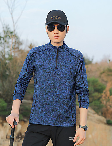 cheap Outdoor Clothing-Unisex Hiking Tee shirt Long Sleeve Outdoor UV Resistant Breathable Quick Dry Sweat-wicking Tee / T-shirt Top Autumn / Fall Summer Polester / Cotton Blend Standing Collar Dark Gray Royal Blue Dark