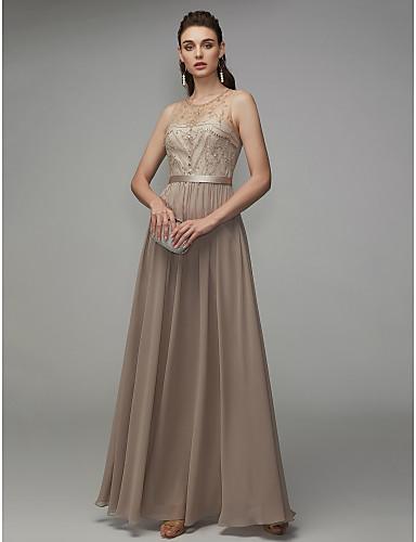 billige Feriekjoler-A-linje Besmykket Gulvlang Chiffon Formell kveld Kjole med Perlearbeid av TS Couture®